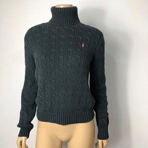 Ralph Lauren sport cotton black cable knit sweater